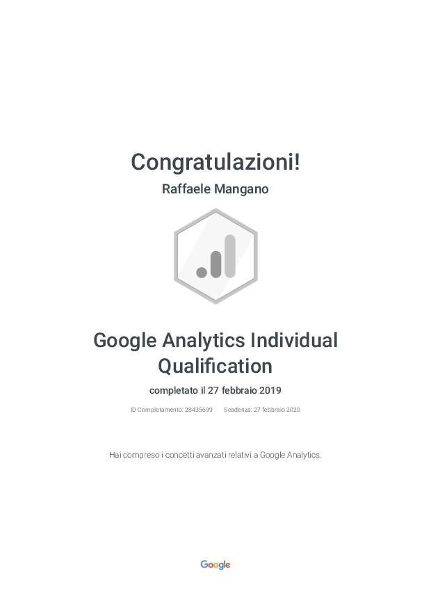 Raffaele Mangano - Agenzia Partner Google Certificato Google Ads - Google Analytics Individual Qualification - Google