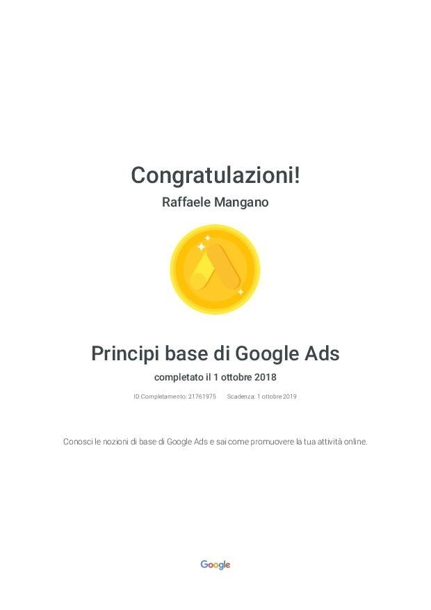 Raffaele Mangano - Agenzia Partner Google Certificato Google Ads - Principi base di Google Ads - Google
