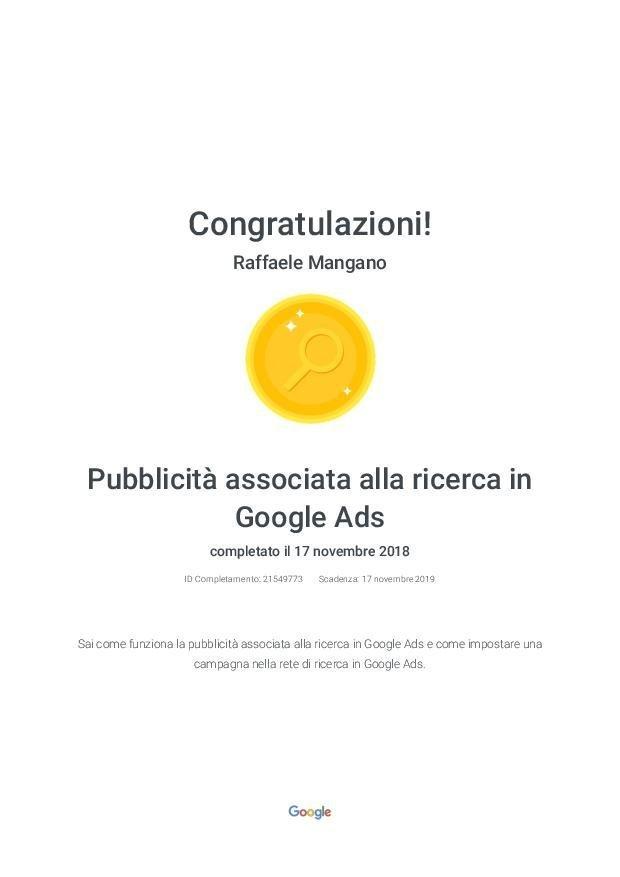 Raffaele Mangano - Agenzia Partner Google Certificato Google Ads - Pubblicità associata alla ricerca in Google Ads - Google